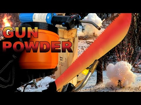 EXPERIMENT Glowing 1000 degree MACHETE vs GUN POWDER!