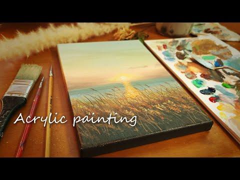 아크릴화 노을 바다 풍경┃아크릴화 기초┃그림초보자도 그릴 수 있어요┃캔버스그림┃힐링영상┃#74┃Easy Acrylic Painting