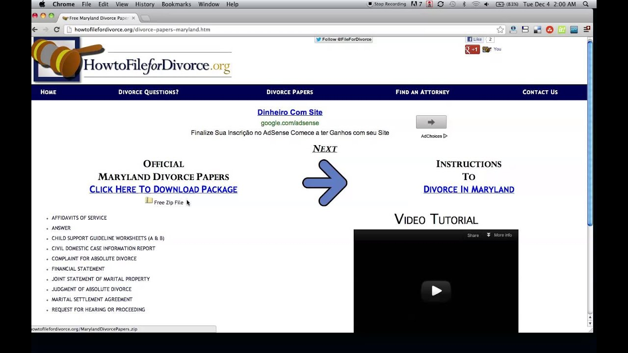 Free Maryland Divorce Papers And Forms