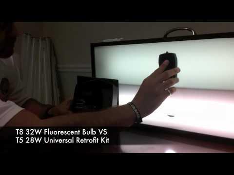 LUX Light Test (T8 Fluorescent VS T5 Retrofit Kit)   YouTube