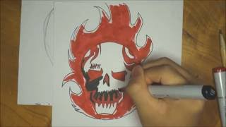 How to draw Diablo logo (Suicide Squad)