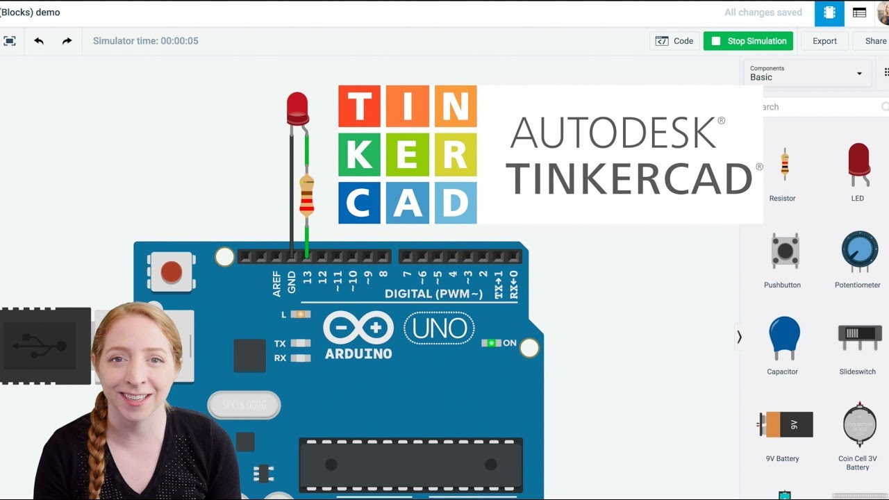Blink An Led With Arduino In Tinkercad Youtube Blinking Circuit Click For A Pdf Version