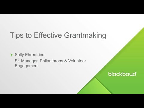 Blackbaud Webinar: Five Tips for Effective Grants Management