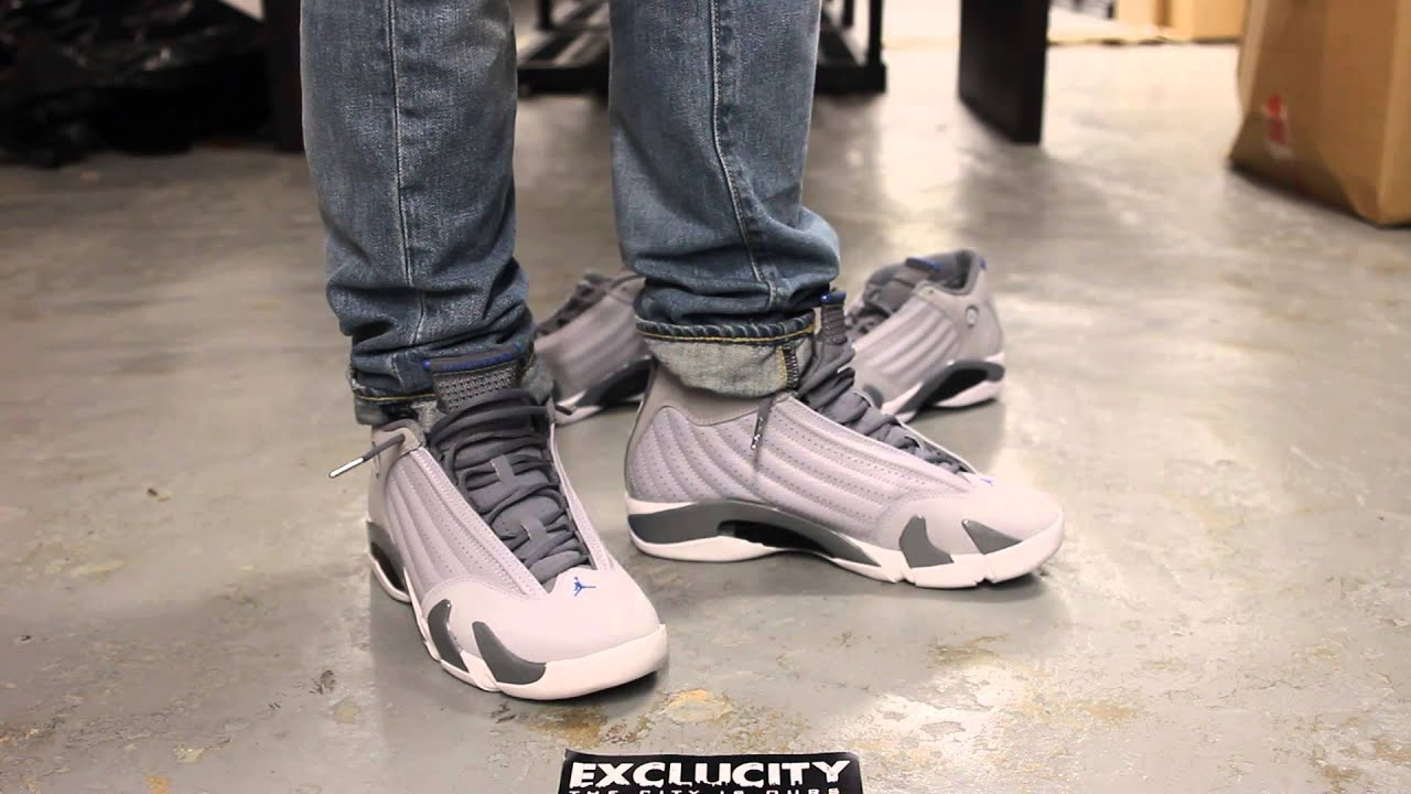 "a762b6af68aa Air Jordan 14 ""Sport Blue"" Wolf Grey White-Sport Blue - On Feet Video    Exclucity"