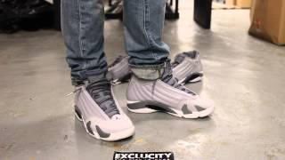"Air Jordan 14 ""Sport Blue"" Wolf Grey/White-Sport Blue - On Feet Video @ Exclucity"