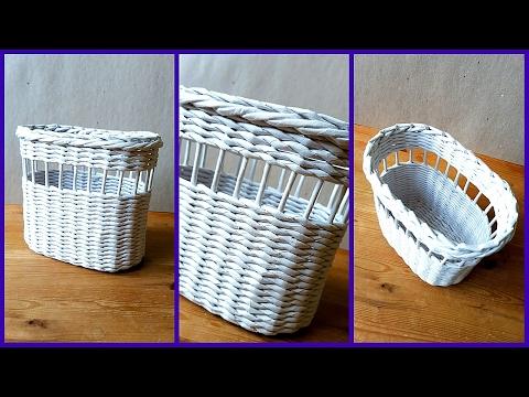 Плетение овальной корзины из газетных трубочек! Подробный МК!