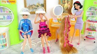 Barbies Do Their Hair at Beauty Salon Salão de cabeleireiro Salon rambut صالون الشعر Poupée Friseur
