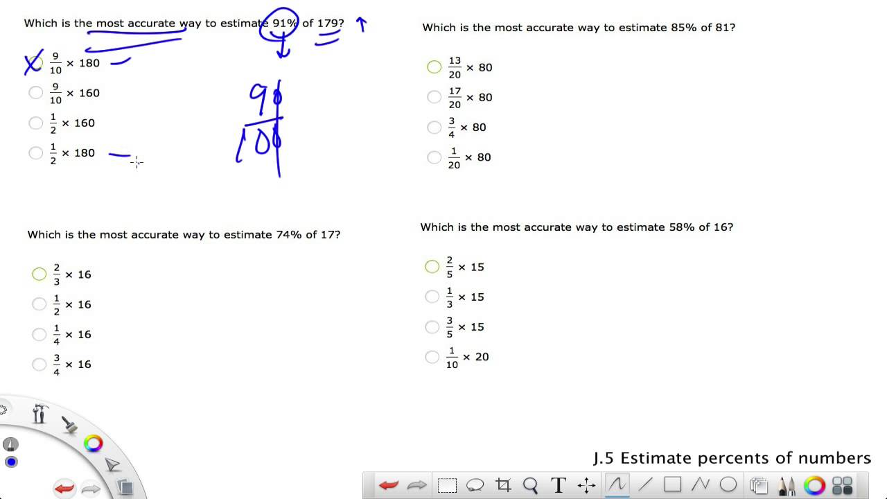 IXL Grade 8 J.5 Estimate percents of numbers - YouTube