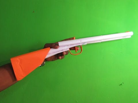 How to Make a Paper Double Barrel shotgun that shoots Rubber Band - Easy Tutorial