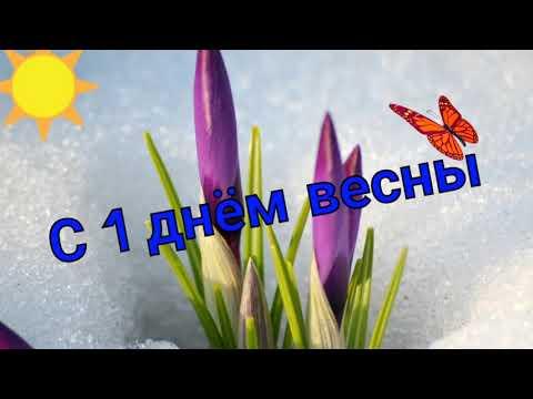 Поздравление с первым днём весны, с 1 марта 2018 видео открытка.