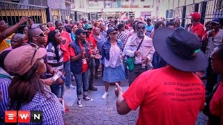 Members of the National Health and Allied Workers Union (Nehawu) continued their protests over pay on Wednesday, despite being barred from entering Parliament.