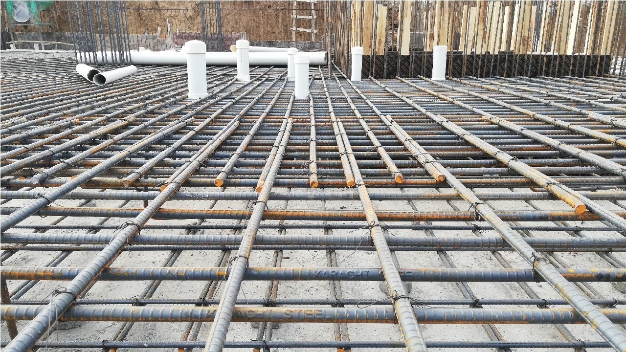 Steel bars lapping with extra bars in raft foundation