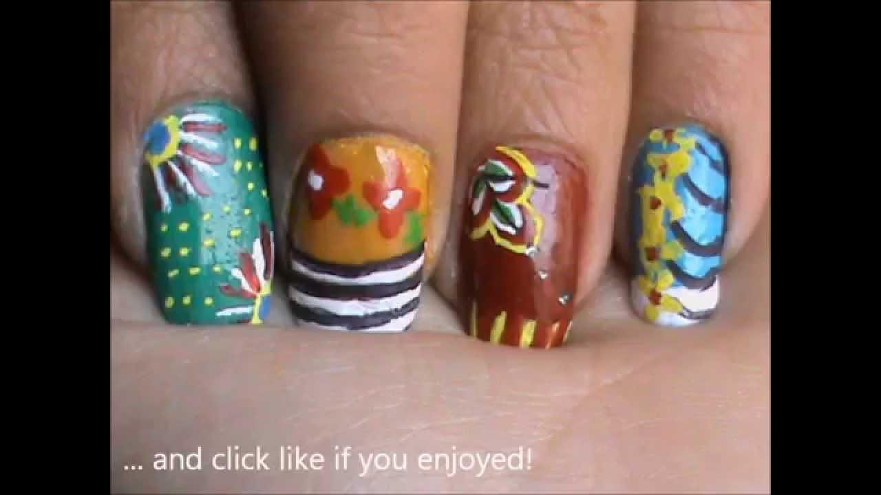 Magic Nails! - Colorful Nail Designs Tutorial - YouTube