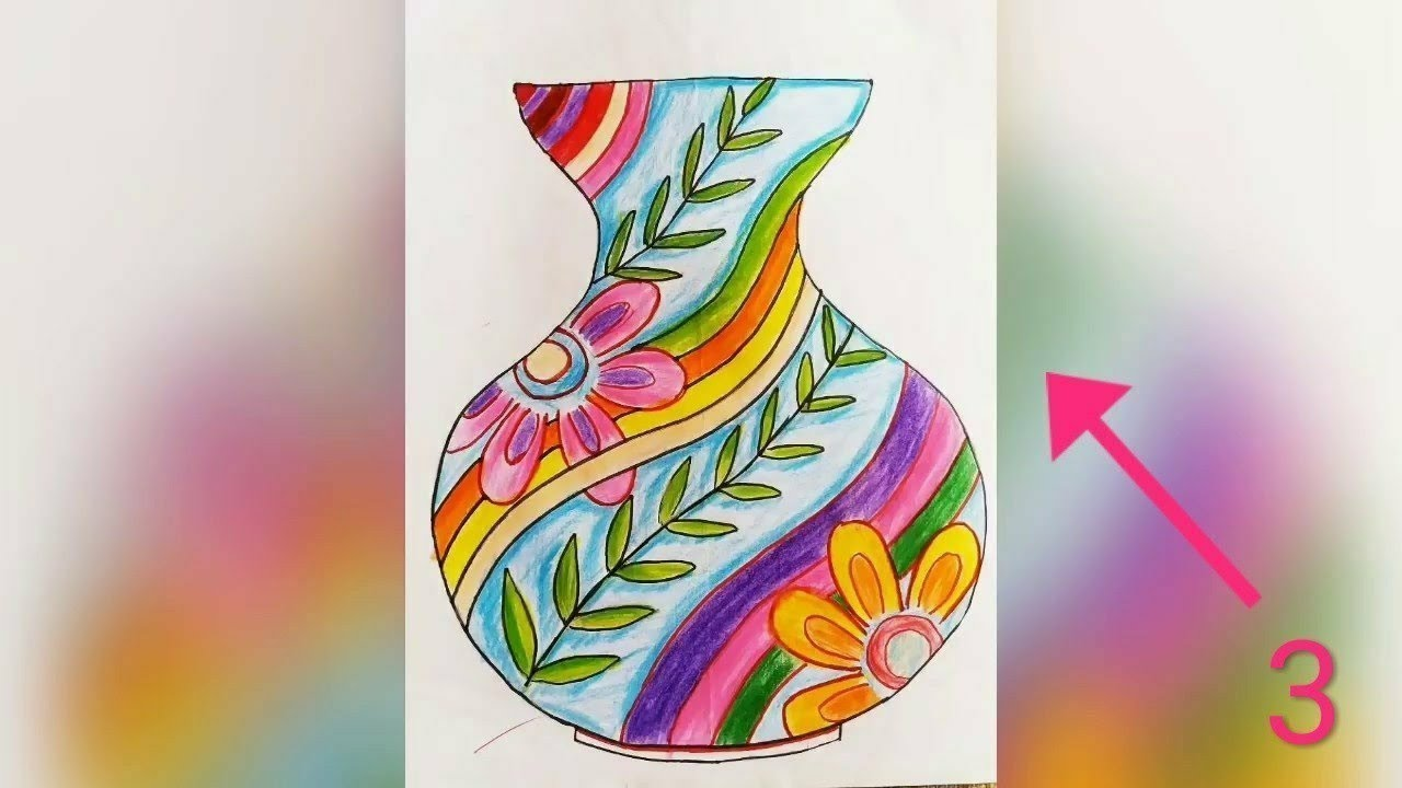 Flower pot Sketch and Drawing फुलदाणी चित्र -- Elementary and Intermediate  Drawing Exams