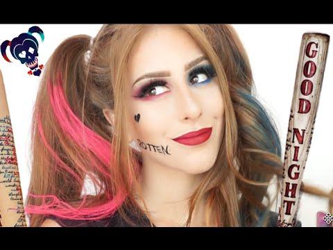 Como se transformar na Arlequina Esquadrão suicida❤️💙  | Harley Quinn Makeup Suicide Squad