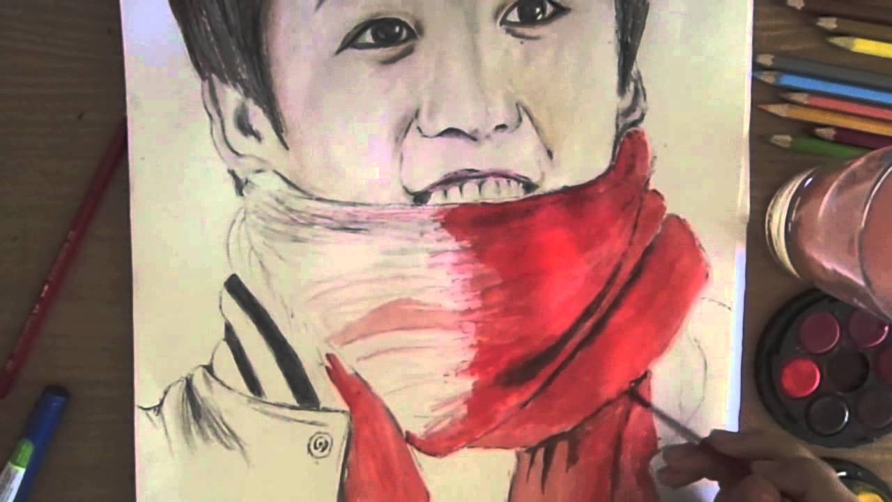 K Pop Idol Speed Drawing Bts Jungkook Water Colour Youtube