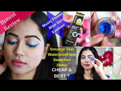 Music Flower Gel Eyeliner Honest Review | Blue Gel Eyeliner |