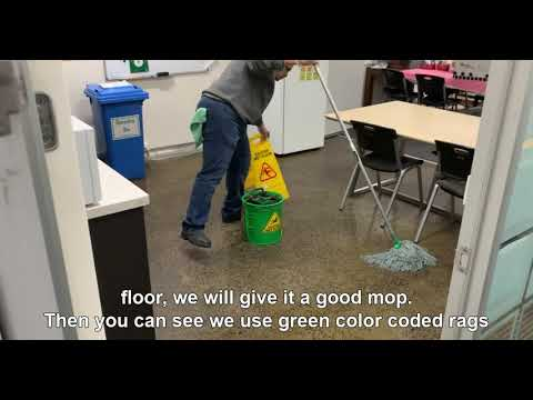 Mopping the staff kitchen area for a Childcare Centre : Whistle Clean Australia