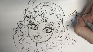 How to draw Lagoona Blue from Monster High step by step
