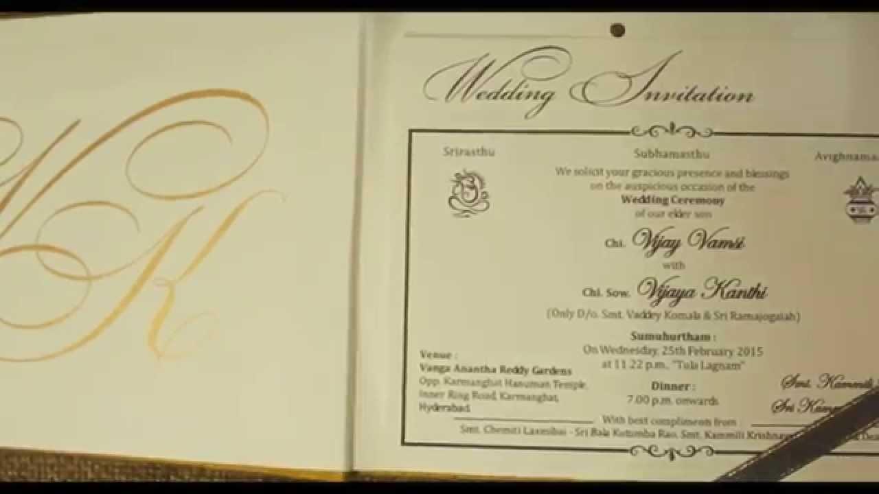 Vamsi & Kanthi - Wedding Invitation - Music Card - YouTube