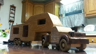Wooden Toy Ford F-350 Truck With Camper