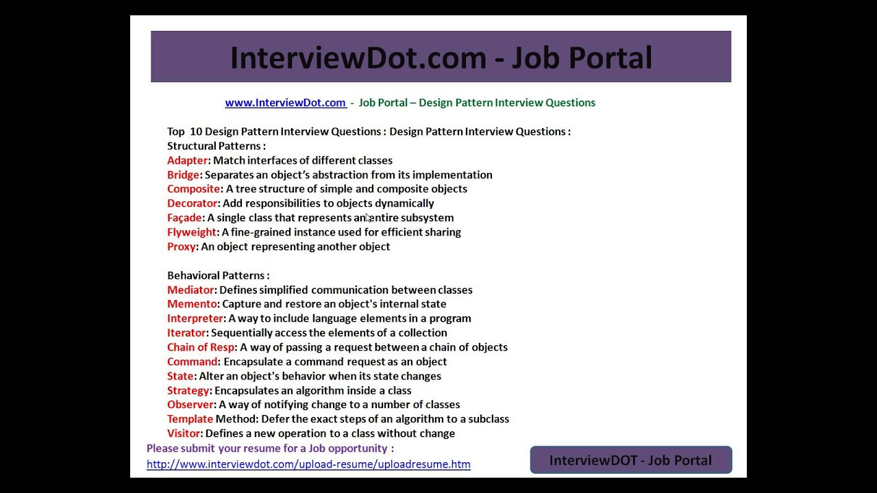 top design pattern interview questions and answers creational top 10 design pattern interview questions and answers creational structural behavioural