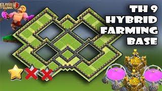New Th9 Hybrid Farming Base 2018 | Save Dark Th9 | Anti 2 Star Base | Best Base Th9 | Clash Of Clans