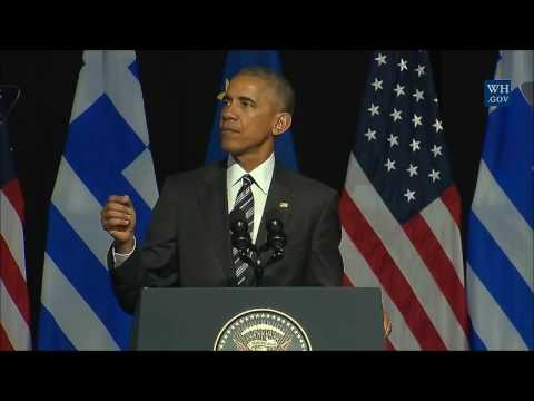 US President Barack Obama Athens Speech about Democracy