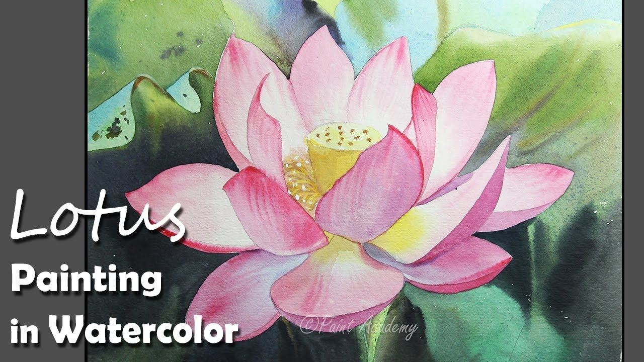 How To Paint A Lotus Flower In Watercolor Youtube