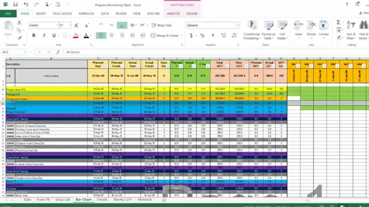 monitor and control excel sheet