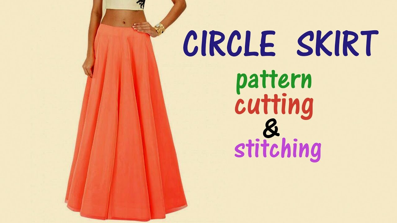 bb5f904586 Circle skirt with elastic waistband| Circle skirt drafting, cutting and  stitching - YouTube