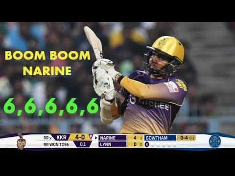 Boom Boom Sunil Narine Blasting Huge Sixes  - 5 Sixes - TKR VS BT 2018