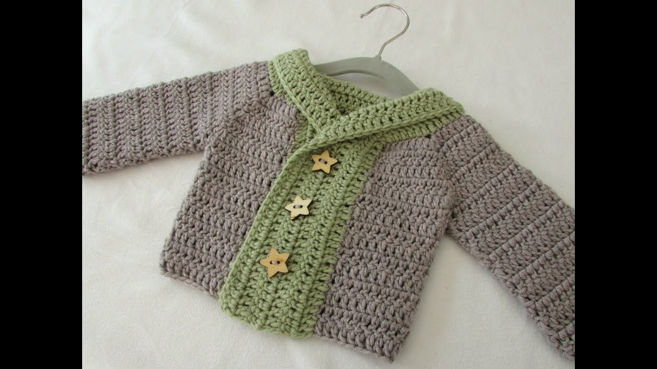 71a7db3e9d98 How to crochet a baby   children s chunky winter sweater - YouTube