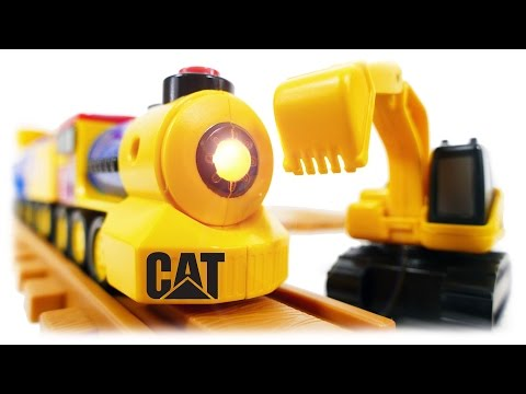 Thumbnail: TRAINS FOR CHILDREN VIDEO: Preschool Express Train CAT with Excavator & Truck Toys Review
