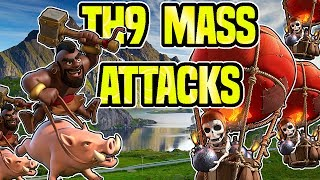 TH9 MASS ATTACKS | MASS HOG, MASS BALLOONS | GOBOWI as Well | Clash of Clans