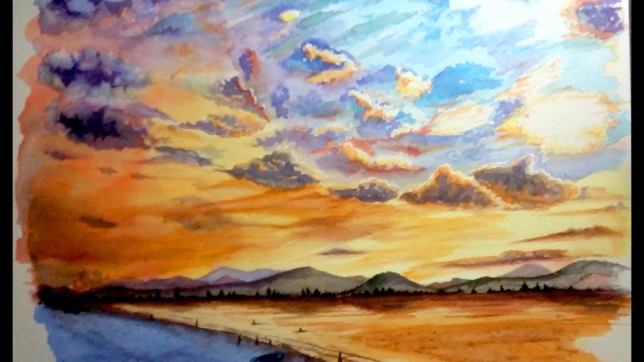 Coucher de soleil en aquarelle youtube - Dessin coucher de soleil ...