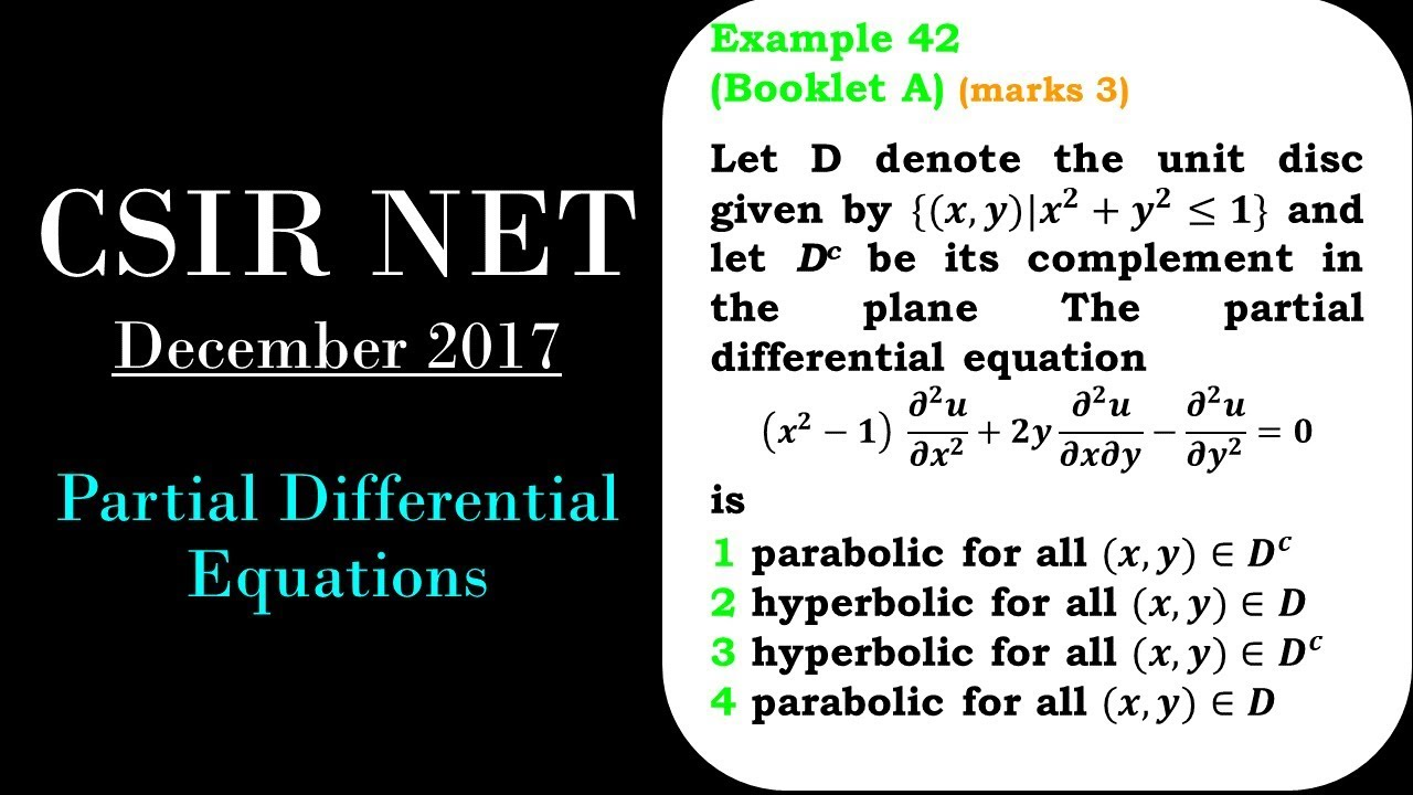 CSIR NET MATHEMATICS   Partial Differential Equations   Classification of  PDE