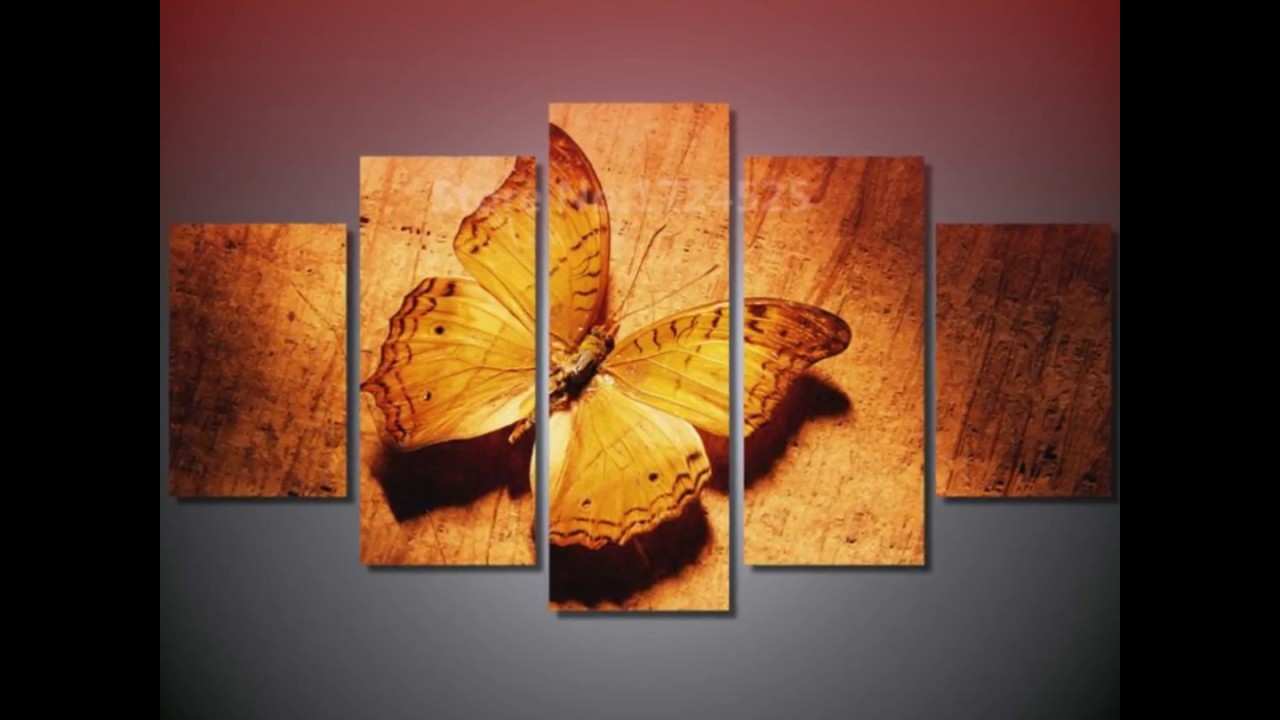 framed 5 piece golf butterfly canvas wall art sets youtube. Black Bedroom Furniture Sets. Home Design Ideas