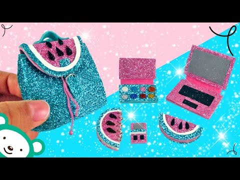 DIY Miniature Watermelon School Supplies - DIY Miniature Barbie Doll School Supplies - HOW TO