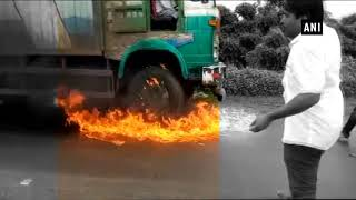 Watch: Swabhimani Shetkari Sanghtana workers torch milk truck