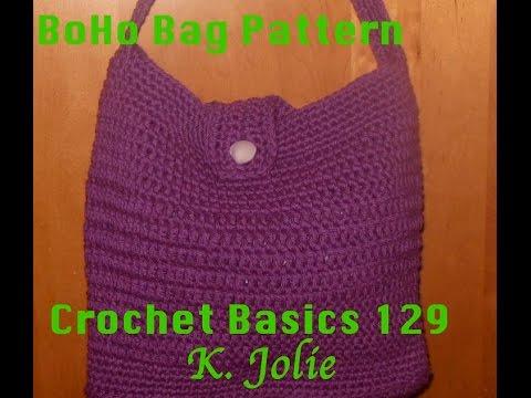 Crochet Basics 129 BoHo Tote bag Free Crochet Pattern with K. Jolie Fashion Easy Beginner
