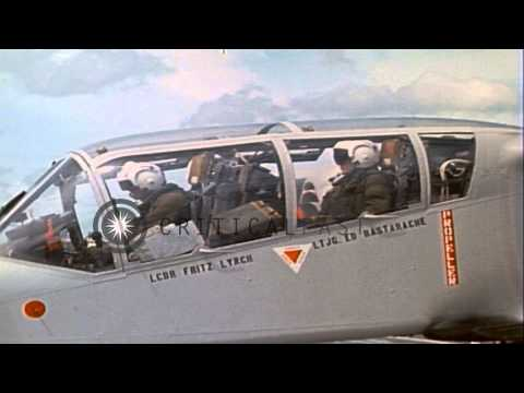 116 Task Force of USN,Black Ponies aboard USMC OV-10A aircraft returned from a mi...HD Stock Footage