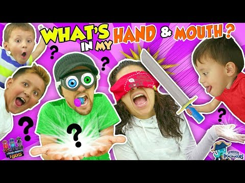 WHAT'S IN MY MOUTH & HAND CHALLENGE! Mom vs. Dad & Brothers