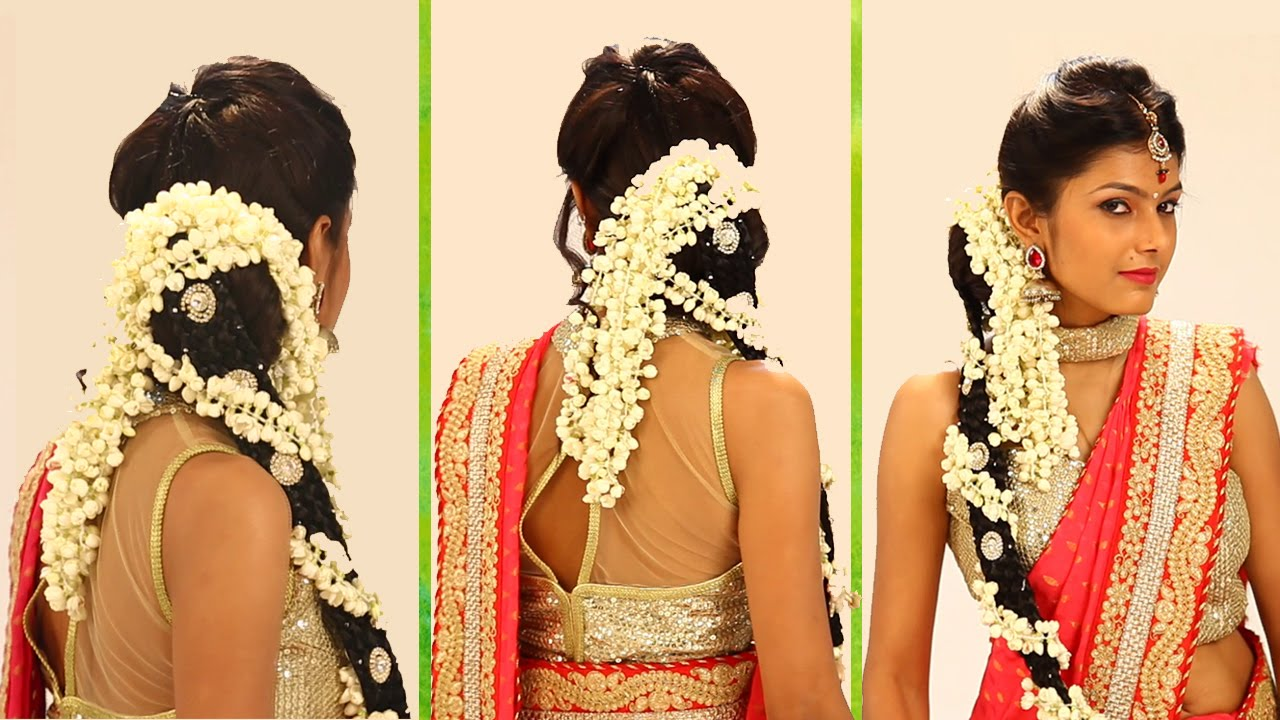 indian bridal hairstyle step by step - south indian bridal hair style for wedding & reception