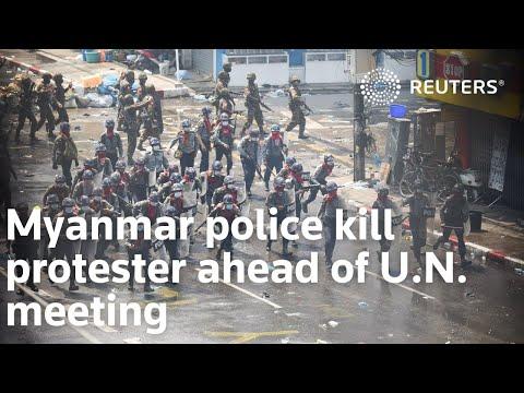 Myanmar police kill protester ahead of U.N. meeting