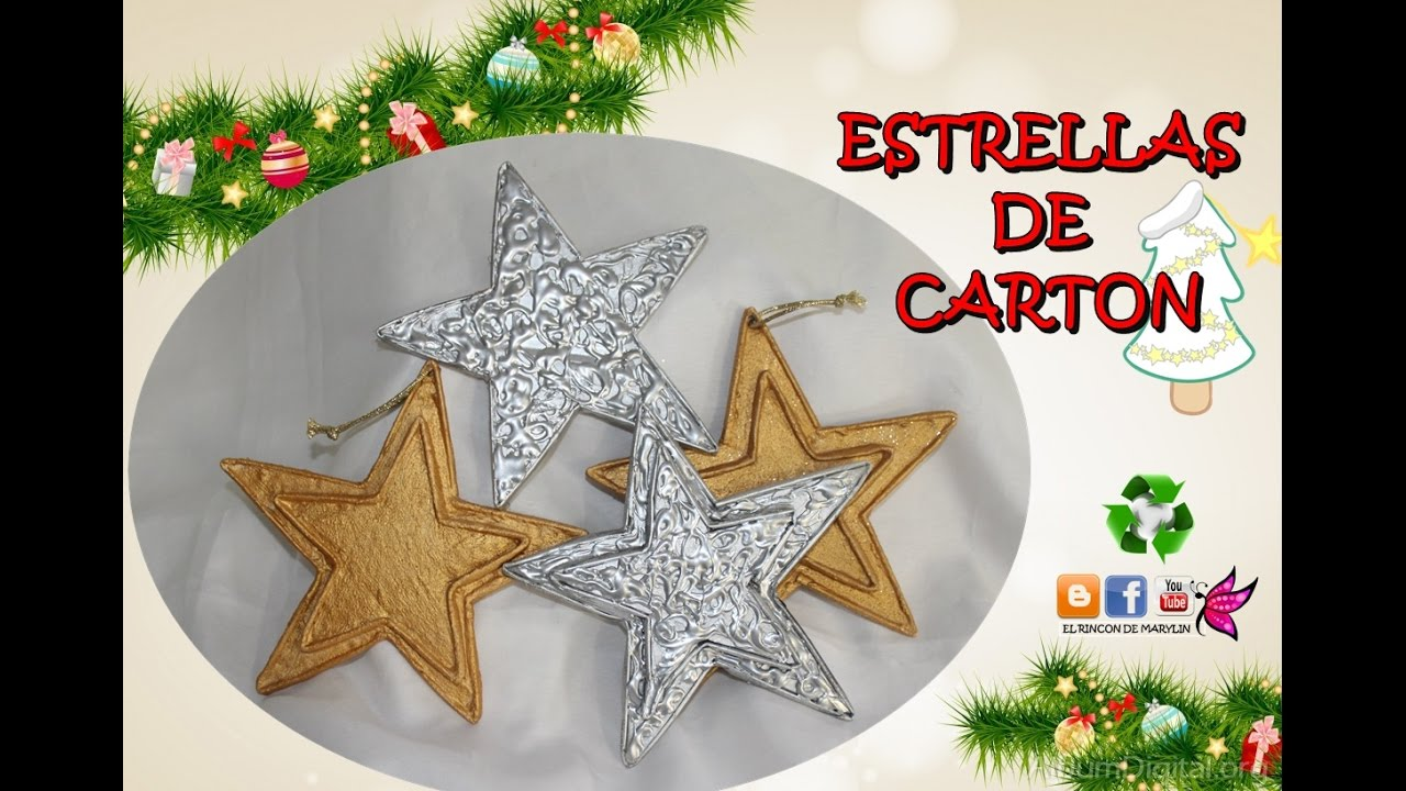 Estrellas para arbol de carton para el arbol de navidad manualidades faciles youtube - Manualidades recicladas para decorar ...