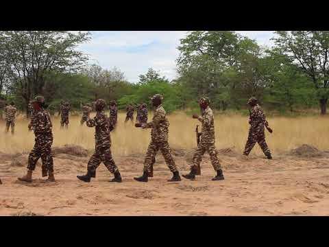 "Namibia Defence Force (NDF) firing riffles at Struggle Veteran Isak A Shoome ""Nangata"" funeral"""