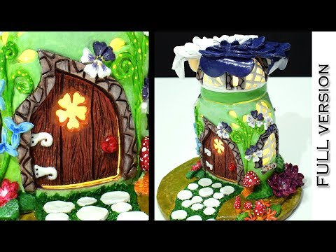 DIY Fairy Garden House Lamp using Nutella Jar | FULL Version | | Paper Clay Tutorial