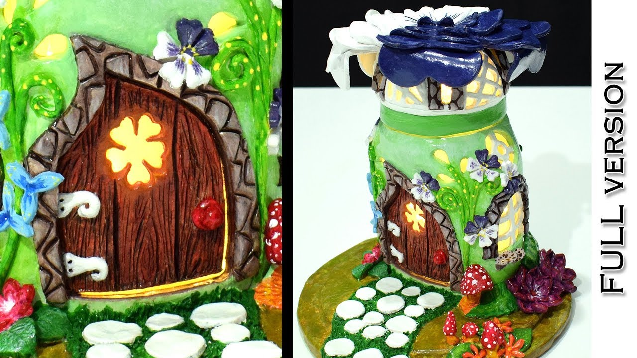 Diy Fairy Garden House Lamp Using Nutella Jar Full Version Paper Clay Tutorial