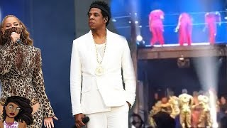 beyonce and jay z run after fan rushes the stage